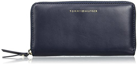Tommy Hilfiger Womens Smooth Leather Lrg Za Wallet Messenger Bag Blue (Tommy Navy)