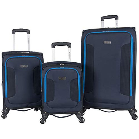 "Ben Sherman Houndstooth Hike 3-Pc Set 20"" Carry-On, 24"", 28"", Navy W/Blue"