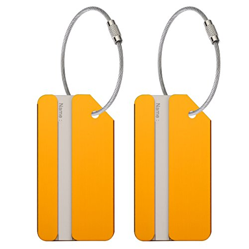ONUPGO 2 Pack Metal Luggage Tags Travel Suitcase Luggage ID Identifier Tags