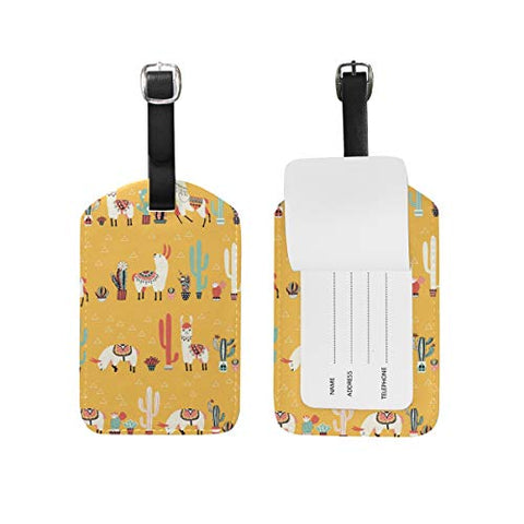 MAPOLO Llama Alpaca Cactus PU Leather Luggage Bag Tags Suitcase Labels,1 Pcs