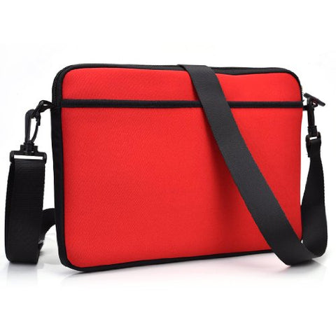 "Kroo Nd13Scr1 13.3"" Messenger Style Neoprene Bag Case With Front And Rear Pockets, Red"