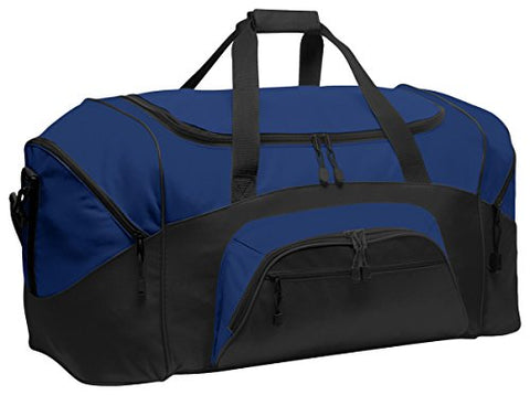 Port & Company Color Block Sport Zipper Duffel Bag_True Royal/Black_Osfa