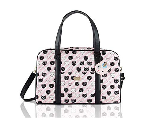 Betsey Johnson Luv CruzIn Cotton Quilted Carry On Weekender Travel Duffel Bag - Black/Blush Cat