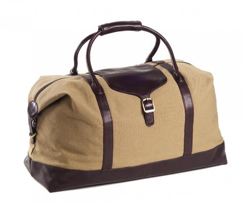 "Clava Canvas 21"" Overnighter W/ Leather Trim (Khaki Canvas With Cafe Trim)"