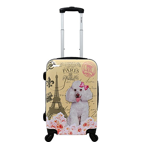 "Chariot 20"" Lightweight Spinner Carry-on Upright Suitcase, Paris Poodle"