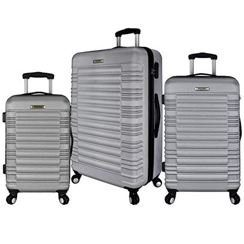 Elite Luggage 3-Piece Hardside Spinner Luggage Set, Silver