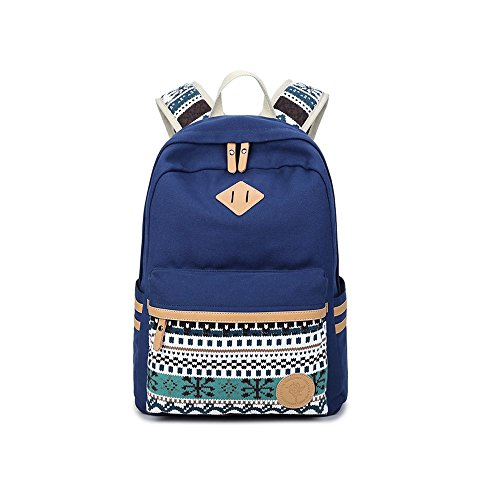 S Kaiko Canvas Backpack Casual Daypacks School Backpack for Women and Men Laptop Backpack Daypack Rucksack Traveling Backpack for Hiking Claimbing (dark blue)