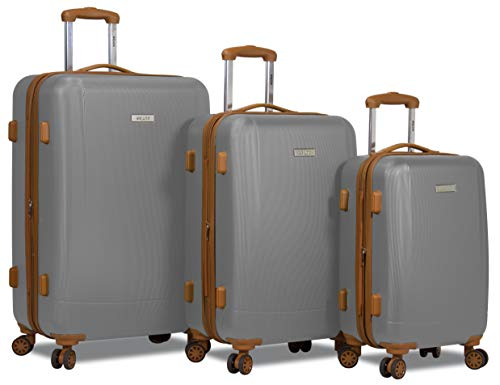 Dejuno Legion 3-pc Hardside Spinner TSA Lock Luggage Set-Silver