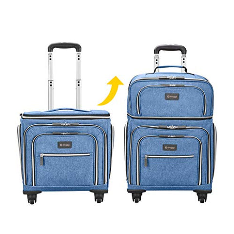 Biaggi Luggage Lift Off Expandable Under-Seater to Carry-on, Denim Blue