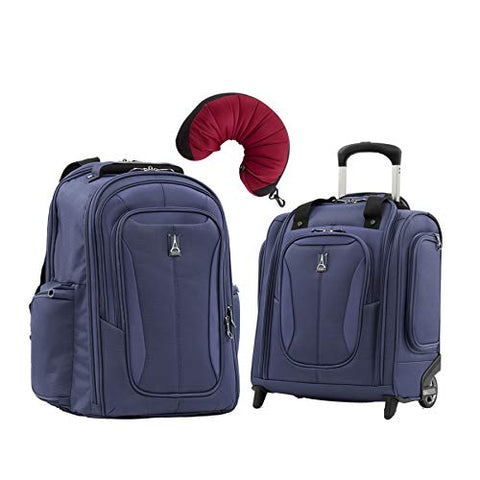 Travelpro Tourlite 2-Piece Set: Laptop Backpack & Underseat Bag With Travel Pillow (Blue)