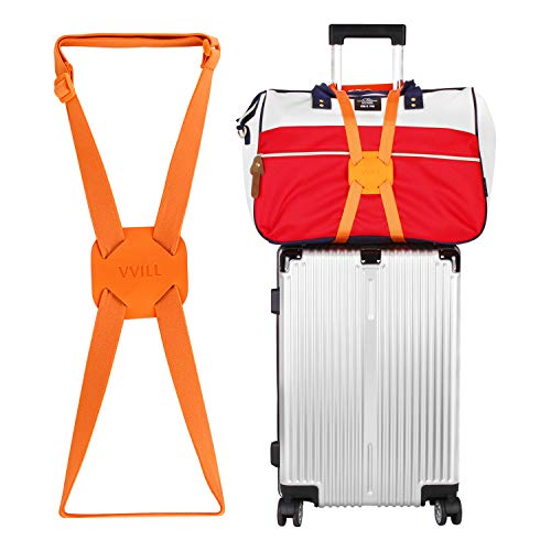 VVILL Bag Bungee, Luggage Straps Suitcase Adjustable Belt - Lightweight and Durable Travel Bag Accessories (orange)