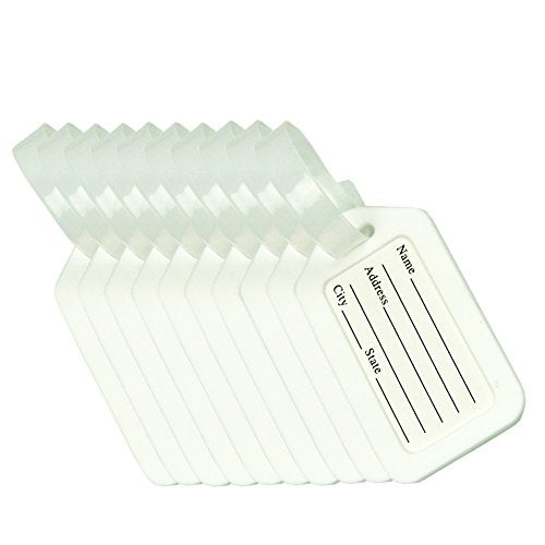 BlueCosto Luggage Tag Suitcase Label Bag Travel Accessories - White,10 Pack