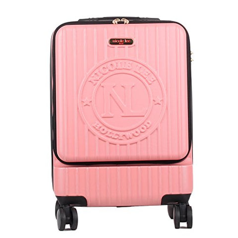 Nicole Lee Women'S Carry Hard Shell Travel Luggage, Laptop Compartment Rolling Wheels, Pink