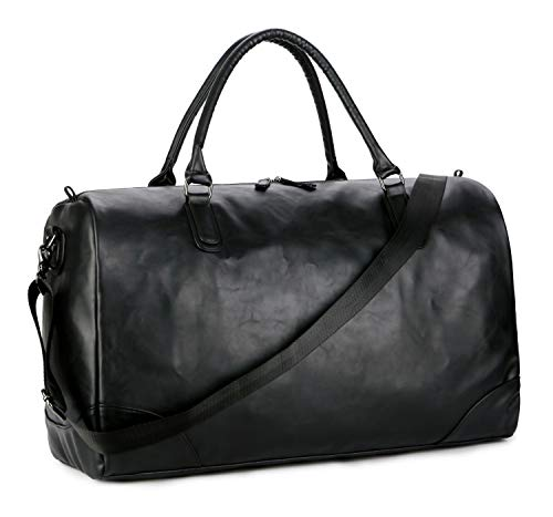 Baosha Hb-06 Pu Leather Travel Tote Bag Weekender Duffel Overnight Bag Carry On Bag (Black)