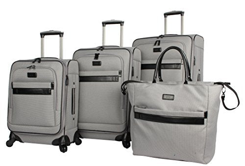 "Nicole Miller New York Coralie Collection 4-Piece Luggage Set: 28"", 24"", 20"" Expandable Spinners and Tote Bag (Gray, One Size)"