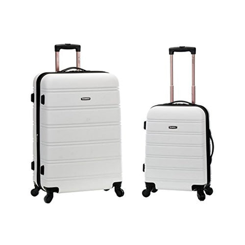 Rockland 20 Inch 28 Inch 2 Piece Expandable Abs Spinner Set, WHITE