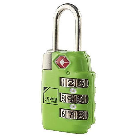 Lewis N. Clark Travel Sentry Large 3Dial Combo Lock, Green, One Size