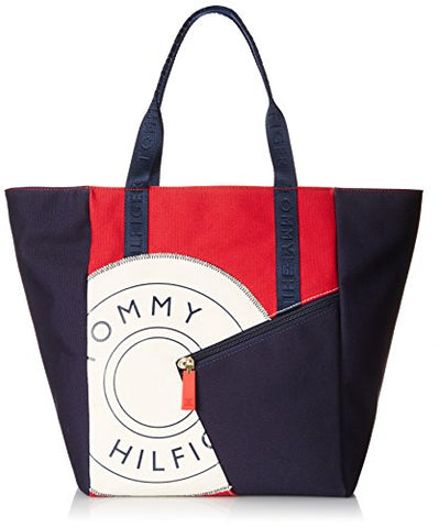 Tommy Hilfiger Sporty Rugby 2 Canvas Travel Tote, Navy/Red/Natural, One Size