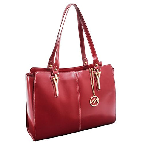 McKlein USA [Personalized Initials Embossing] Womens GLENNA Leather Shoulder Tote Bag in Red