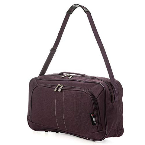 16 Inch Carry On Hand Luggage Flight Duffle Bag, 2nd Bag or Underseat, 19L (Plum)