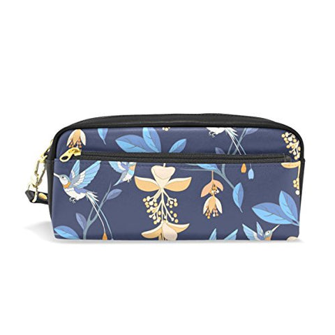 Colourlife Blue Tropical Jungle Flowers Hummingbird Pu Leather Pencil Case Holder Pouch Makeup Bags