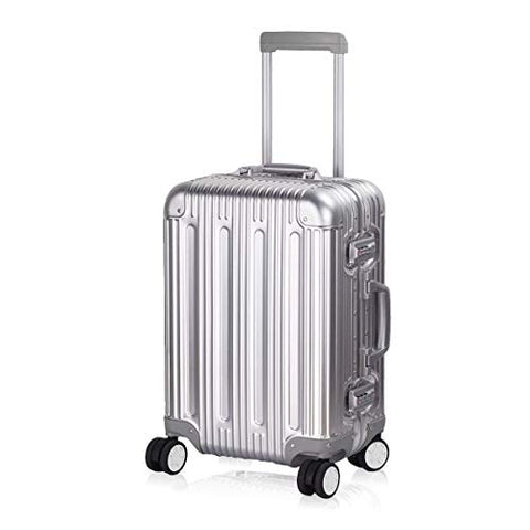 "Multi-size All Aluminum Hard Shell Luggage Case Carry On Spinner Suitcase By TravelKing 20""-28"" (Silver, 20"")"