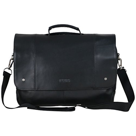 "Kenneth Cole Reaction Leather Dual Compartment Flapover 16.0"" Computer Business Crossbody Portfolio Laptop Briefcase Black One Size"