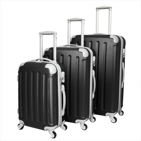 Dejuno 25Dj-606-Black Departures Hardside Spinner Combination Lock Luggage Set44; Black - 3 Piece