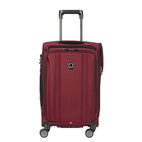 Delsey Luggage Titanium Soft Expandable 21 Inch Spinner, Black Cherry