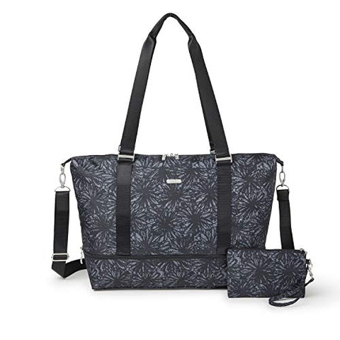 Baggallini Expandable Carry on Duffel, onyx floral