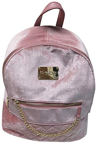 Bebe Gina Large Velvet Backpack Blush