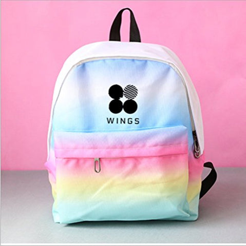 Bosunshine Kpop BTS Gradient Print Backpack Schoolbag Satchel (Multicolor)