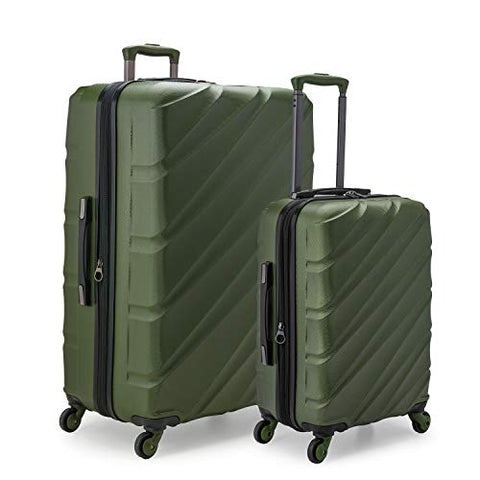 Travelers Choice Gilmore 2-Piece Expandable Hardside Luggage Set with Push-Button Handle, Green, Olive