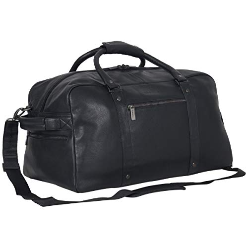 "Kenneth Cole Reaction Men's 20"" Leather Top Zip Travel with RFID Duffel Bag Black One Size"