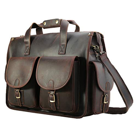 "Polare 17"" Vintage Full Grain Leather Messenger Bag For Laptop Briefcase Satchel Bag"
