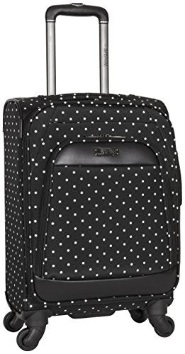 "Kenneth Cole Reaction Dot Matrix 20"" 600d Polka Dot Polyester Expandable 4-Wheel Spinner Carry-on Luggage, Black"