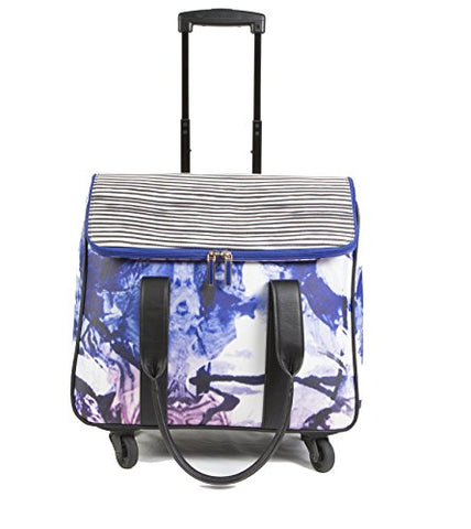 Hang Accessories Printed Waxed Canvas Rolling Carry On Trolley Bag - Wheeled Travel, Work, And