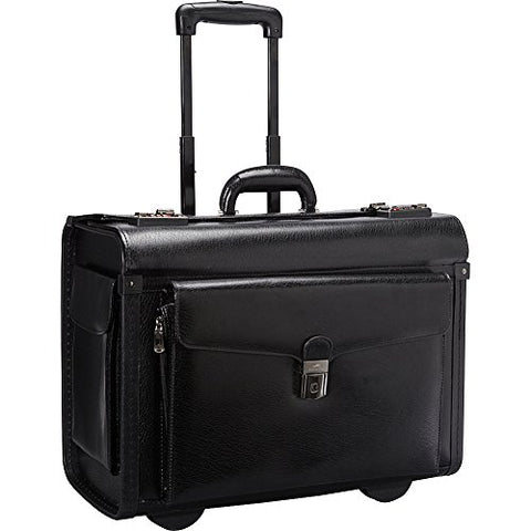 Mancini Deluxe Wheeled Leather Catalog Case - Black