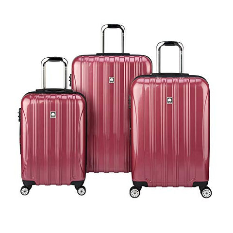 "Delsey Luggage Aero 3-Piece Luggage Set (21"" Carry-on, 25"", 29""), Dark Pink"