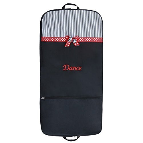 "Sassi Designs Red ""Dance"" Dotted Grosgrain Ribbon Trim Mindy Garment Bag"
