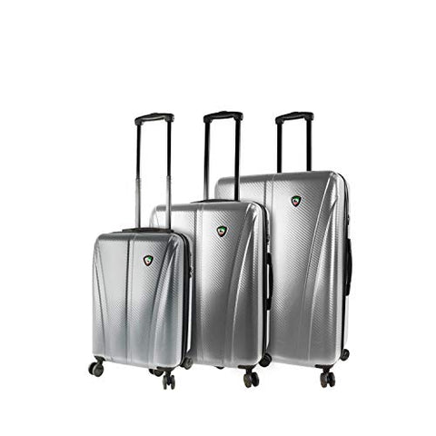 Mia Toro Italy Usini Hardside Spinner Luggage 3pc Set, Silver