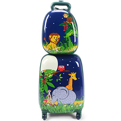 "GHP 16""×12""×8.5"" ABS Kids Animal Design Trolley Suitcase Luggage w 12"" School Backpack"