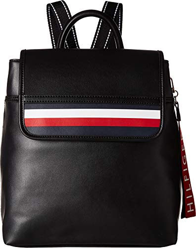 Tommy Hilfiger Women's Gianna Smooth PVC Backpack Black One Size