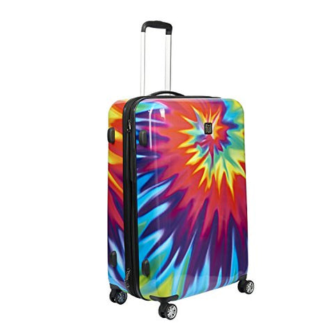 ful Luggage Tie-dye Swirl 28 Inch Expandable Spinner Rolling Suitcase, Hard Case
