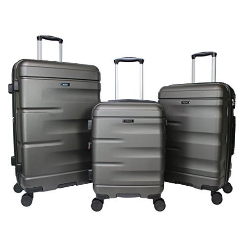 Dejuno Emerson 3-Piece Hardside Expandable Spinner Luggage Set, Charcoal