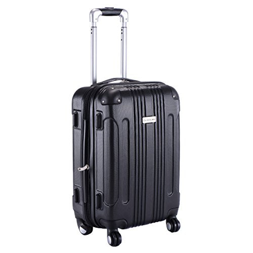 "GHP Black 14""Wx10""Thickx20""H 4-Wheel Spinner Lightweight Expandable Trolley Suitcase"