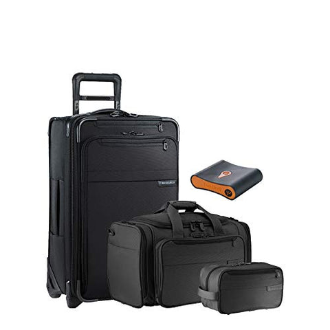 Briggs & Riley Baseline 4-Pc Set- C/O Spinner, C/O Duffel, Toiletry Kit, Portmantos Tracking Device (Black)