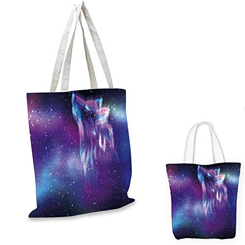 Fantasy canvas messenger bag Psychedelic Northern Starry Sky with Spirit of A Wolf Aurora