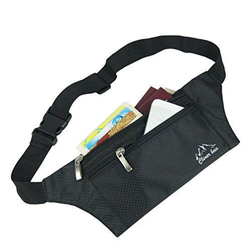 Clever Bees Lightweight Travel Money Belt Undercover Hidden Waist Stash and Passport Wallet (Black)