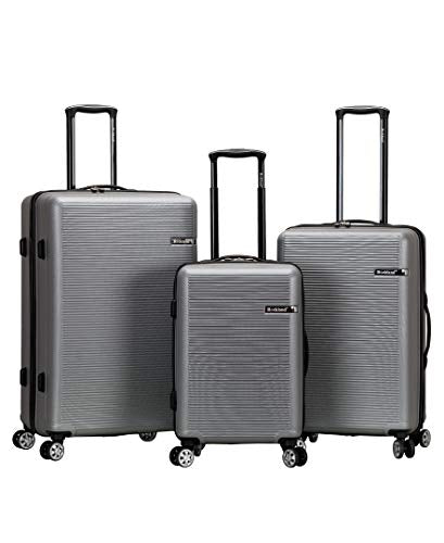 Rockland Skyline 3 Piece Abs Non-Expandable Luggage Set, Silver